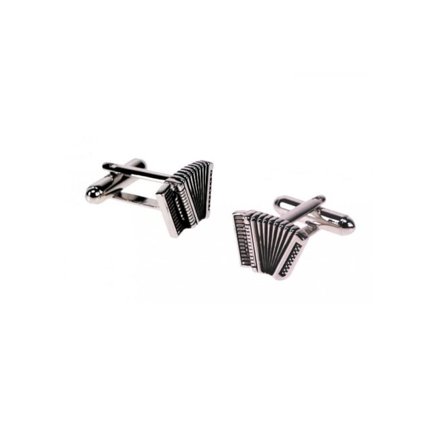 Onyx-Art Accordion Rhodium Cufflinks