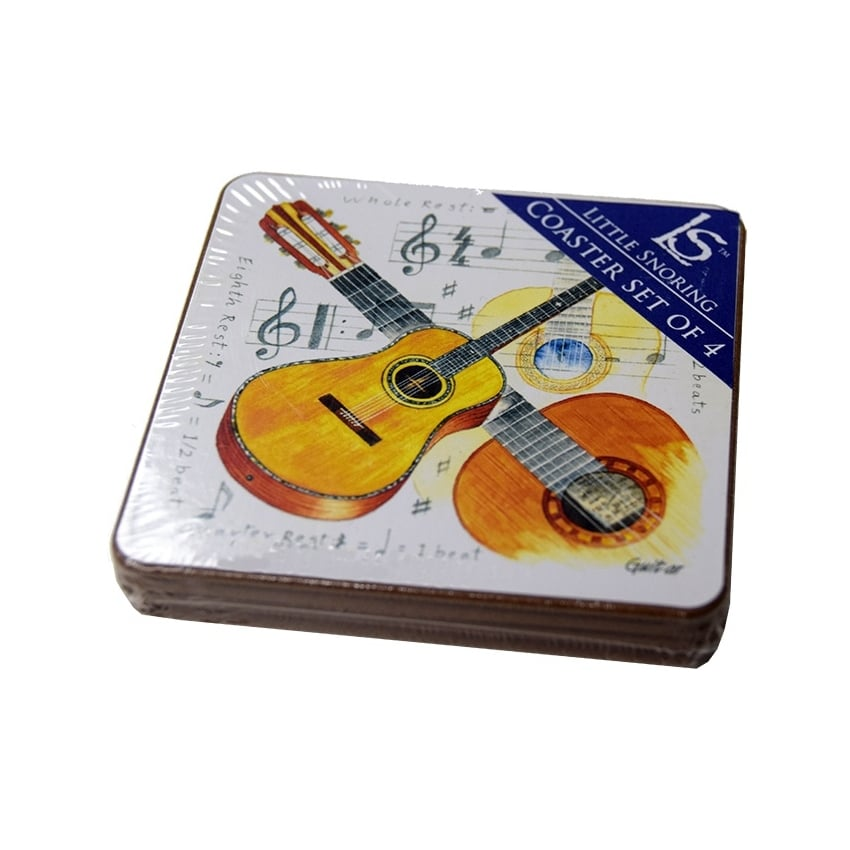 Little Snoring Acoustic Guitar Coasters Set of 4