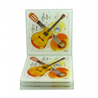 Little Snoring Acoustic Guitar Glass Coaster Set of 4