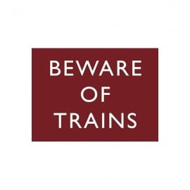 Original Metal Sign Company Beware Of Trains Fridge Magnet