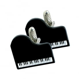 Onyx-Art Black Grand Piano Cufflinks