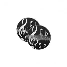 Music Gifts Company Black Music Notes Twin pack of Mug Coasters