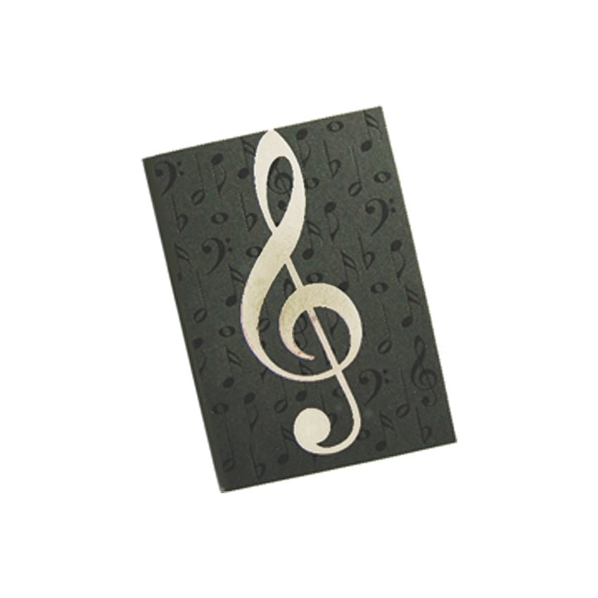 Music Gifts Company Black Notes and Silver Clef A6 Journal