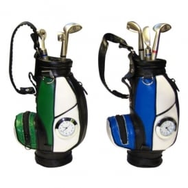 Clere Concepts Blue Golf Bag Pen Stand with Clock