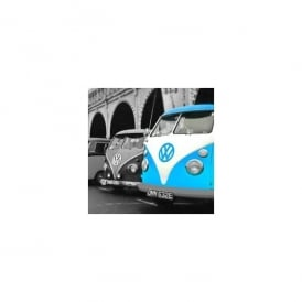 art2glass Blue on Greyscale Campervan Glass Coaster Single in Box
