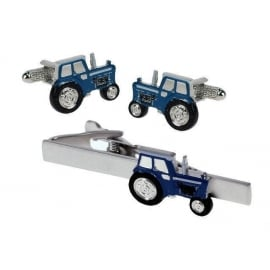 Onyx-Art Blue Tractor Cufflinks and Tie Bar Set