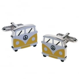 Onyx-Art Campervan Yellow Cufflinks