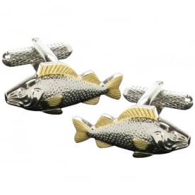 Onyx-Art Carp Gold Fins Fish Cufflinks