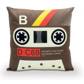 Bubblegum Stuff Cassette Filled Cushion in Brown