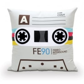 Bubblegum Stuff Cassette (White) Filled Cushion