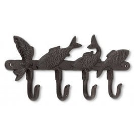 CGB Giftware Cast Iron 4 Fish Hook Wall Hangar