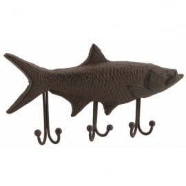 CGB Giftware Cast Iron Fish 3 Hook Wall Hangar