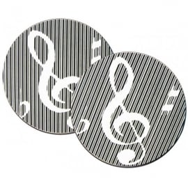 Music Gifts Company Clefs & Stripes Mug Coasters - Twin pack