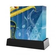 Twinkle Deluxe Saxophone Glass Coaster Set of 4 with Stand