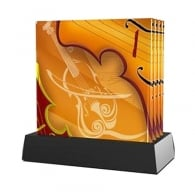 Twinkle Deluxe Violin Glass Coaster Set of 4 with Stand