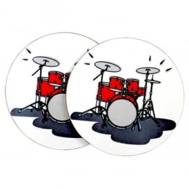 Music Gifts Company Drum Set Mug Coasters - Twin pack
