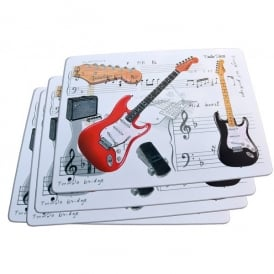 Little Snoring Fender Guitar Placemats Set of 4