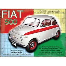 Original Metal Sign Company Fiat 500 Tin Sign