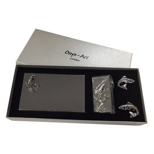 Onyx-Art Fish Business Card Holder, Money Holder and Cufflinks Set