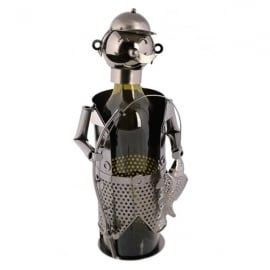 Out Of The Blue Fisherman Metal Sculpture Wine Bottle Holder