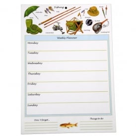 Little Snoring Fishing Montage Weekly Planner Pad