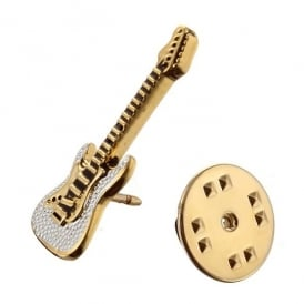 Onyx-Art Gold Guitar Lapel Pin