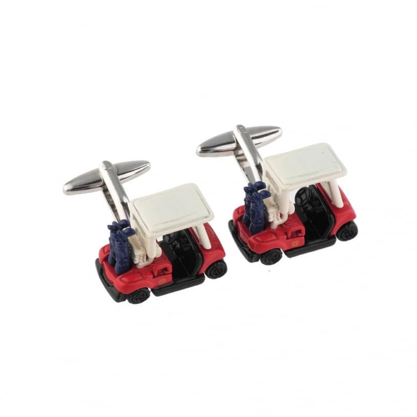 Tie studio Golf Cart in Red Cufflinks