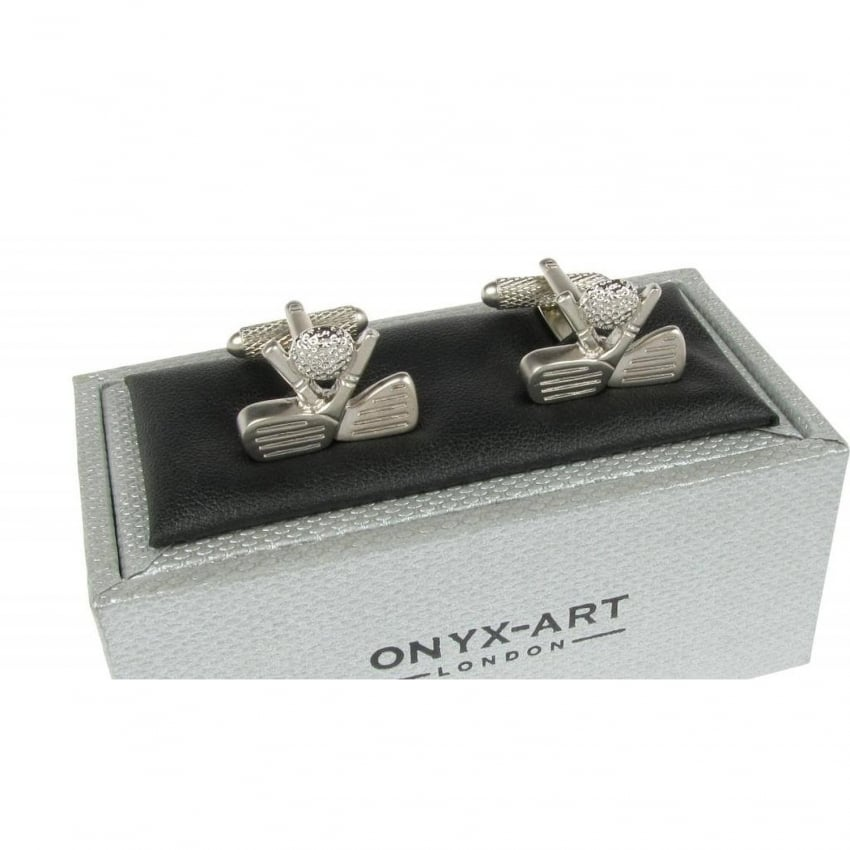 Onyx-Art Golf Clubs Crossed Cufflinks