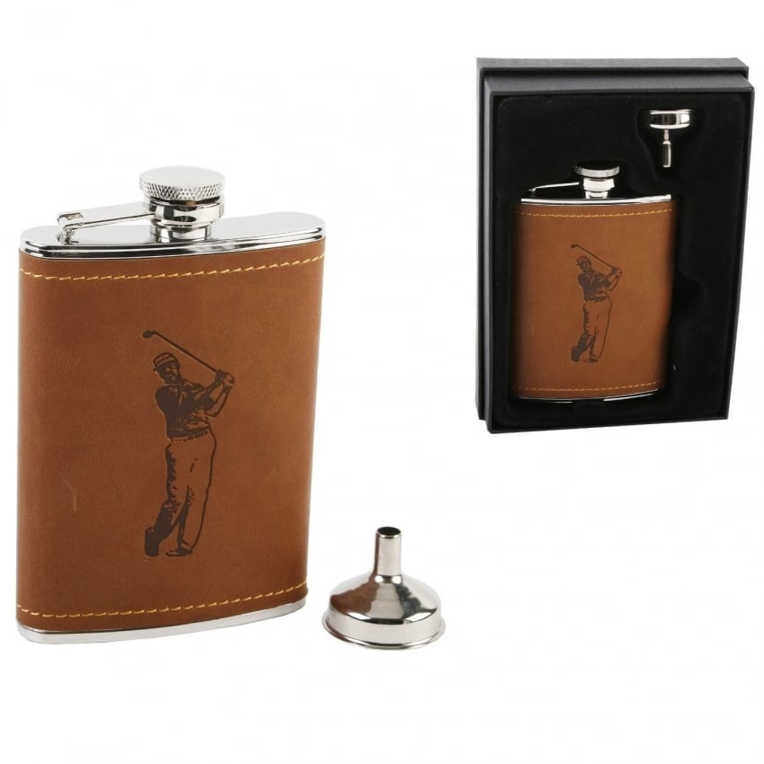 Widdop Golf Hipflask With Brown Front
