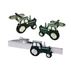 Onyx-Art Green Tractor Cufflinks and Tie Bar Set
