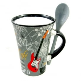 Little Snoring Guitar Cappuccino Mug with Spoon