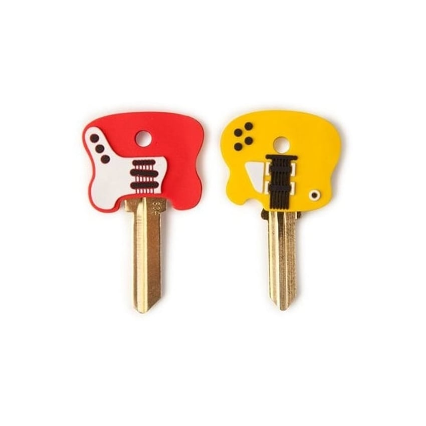 Kikkerland Guitar Key Caps Red/Yellow Electric - Pack of 2