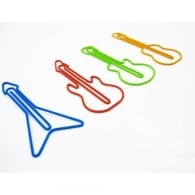 Rocket Guitar Shaped Coloured Paper Clips - Pack of 12