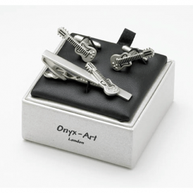 Onyx-Art Guitar Tie Bar and Cufflinks Gift Set