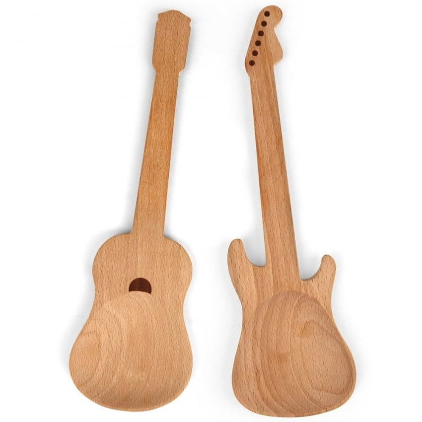 Kikkerland Guitar Wooden Serving Spoons (2 Pack )