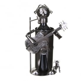 Flame Homeware Guitarist Metal Wine Bottle Holder