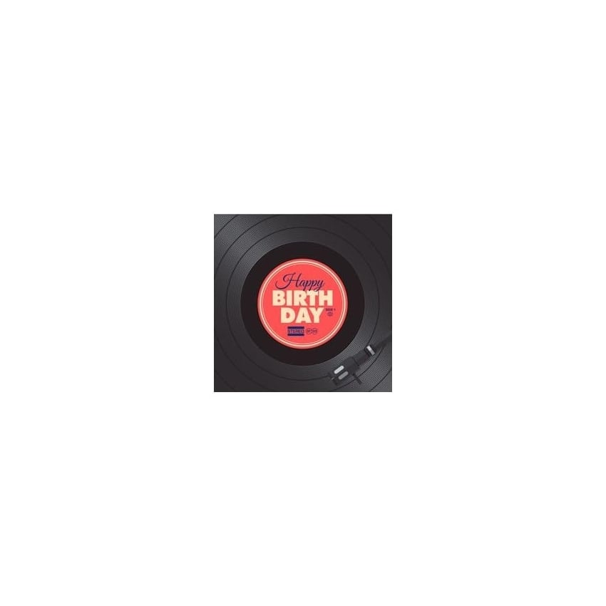 art2glass Happy Birthday Vinyl Record Glass Coaster Single in Box