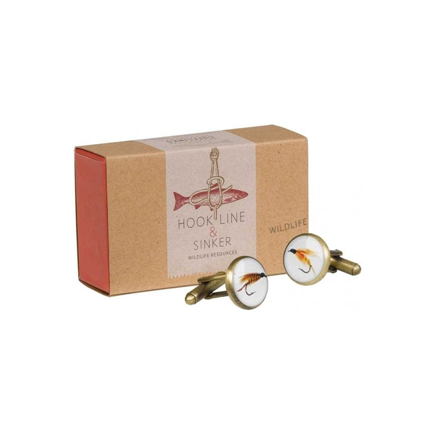 Wild & Wolfe Hook Line & Sinker Fly Fishing Cufflinks