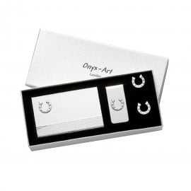 Onyx-Art Horse Shoe Business Card & Cufflinks Set