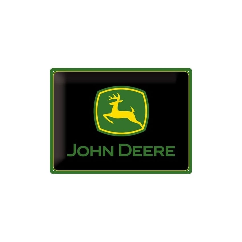 Casa Grande John Deere Logo On Black Large Tin Sign