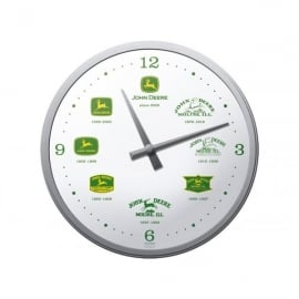 Casa Grande John Deere White Face with Logos Glass Wall Clock