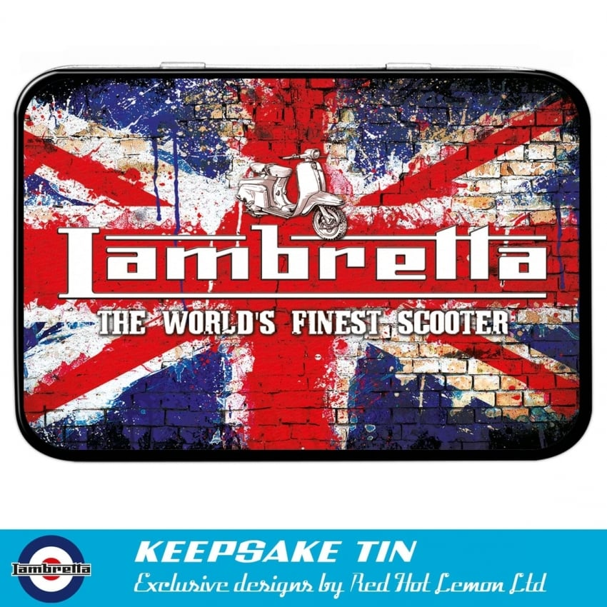 Red Hot Lemon Lambretta Grunge Flag Keepsake Tin