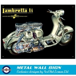 Red Hot Lemon Lambretta LI Mechanical Metal Sign