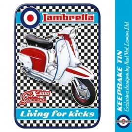 Red Hot Lemon Lambretta SX200 Chequer Keepsake Tin