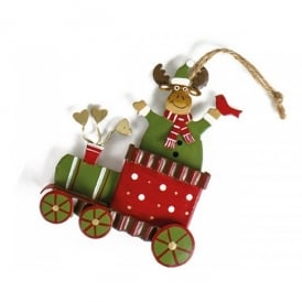 Heaven Sends Metal Hanging Xmas Train Ornament - Moose