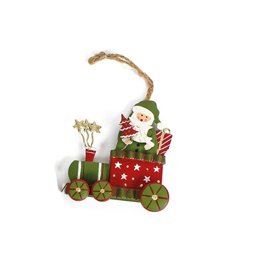 Heaven Sends Metal Hanging Xmas Train Ornament - Santa