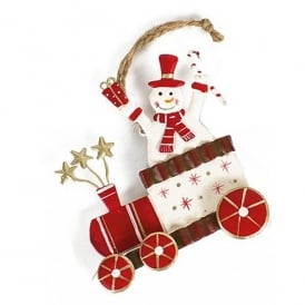 Heaven Sends Metal Hanging Xmas Train Ornament - Snowman