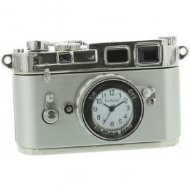 Widdop Miniature Camera Clock - Old Style Silver