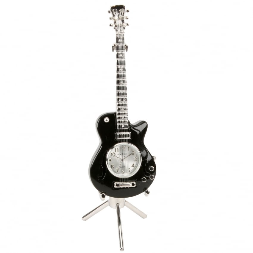 Widdop Miniature Desk Clock - Black Guitar