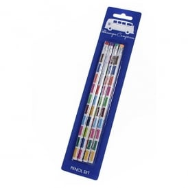 Elgate Multi Coloured VW Campervan Pencil Set of 4